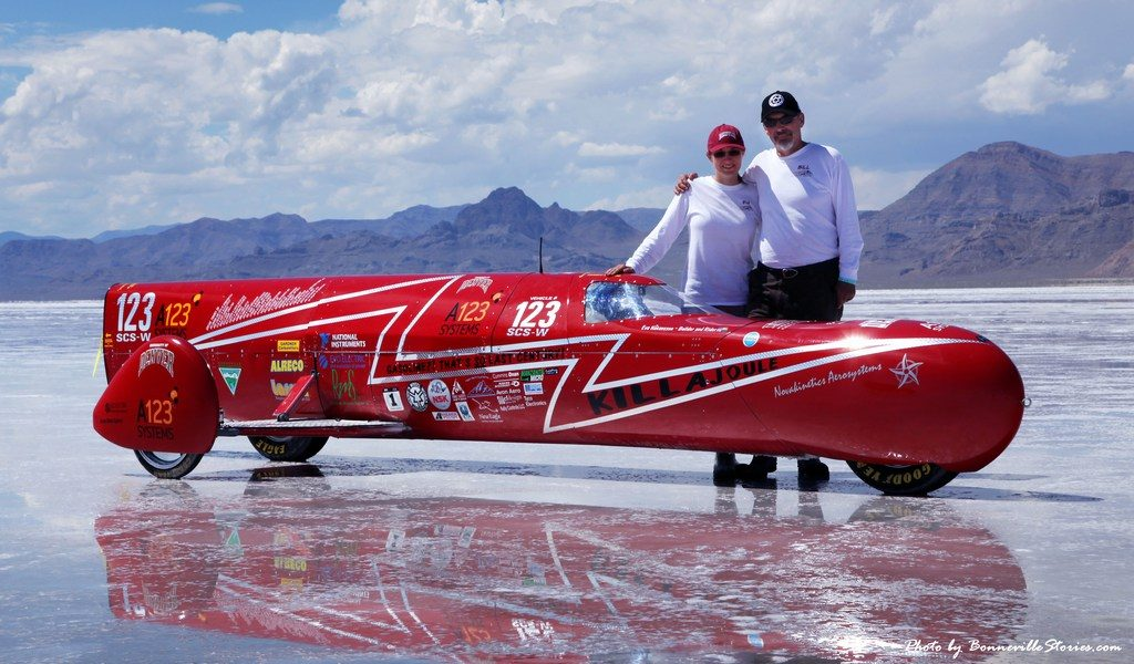image of eva hakansson and her husband at the salt flats in bonneville, utah