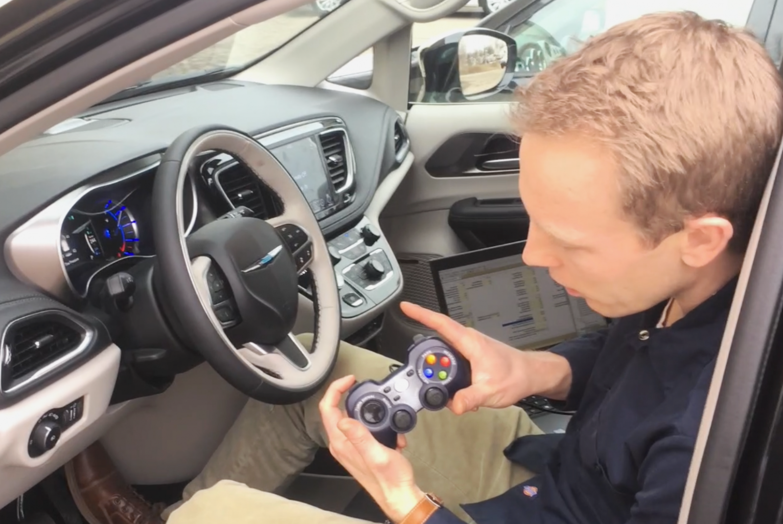 Justin demonstrating the DBW kit for Chrysler pacifica
