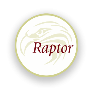 round raptor logo with dropshadow